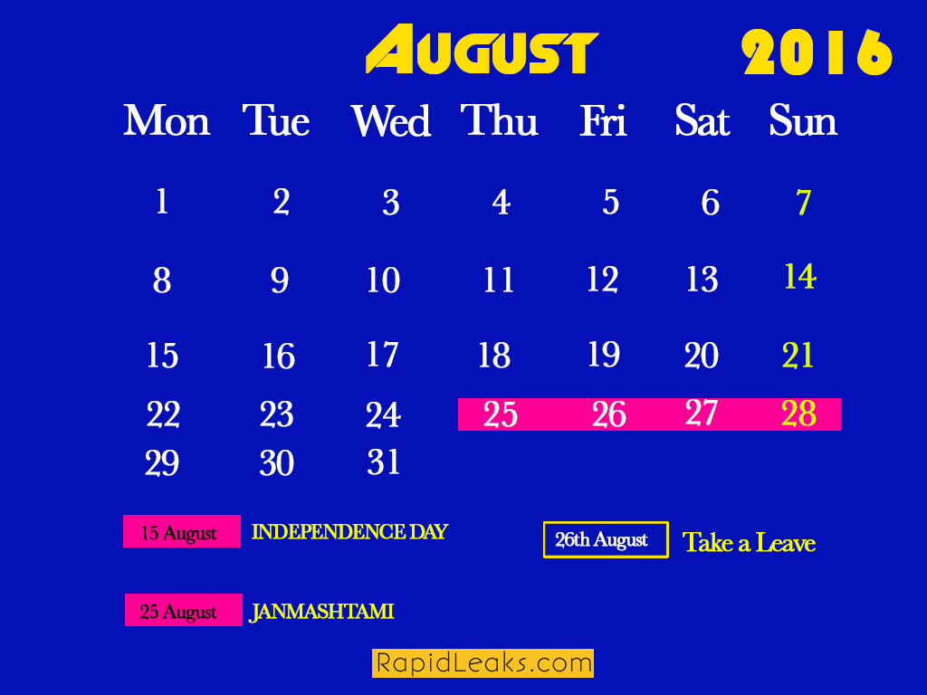 August Holidays in 2016