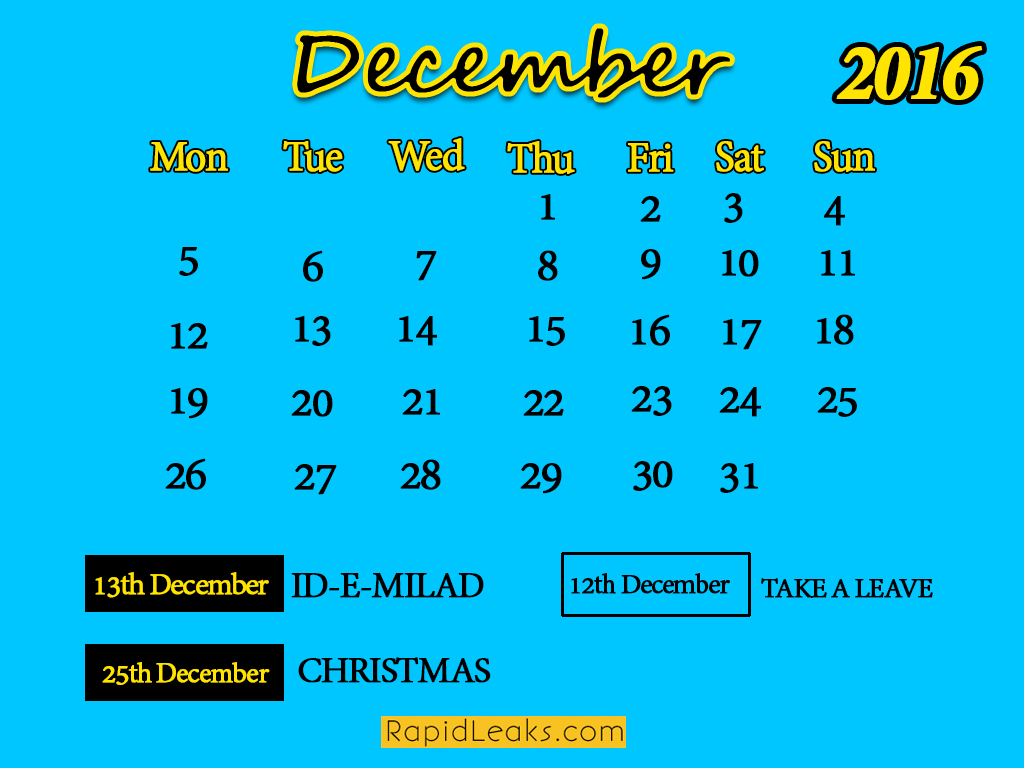 December Holidays in 2016
