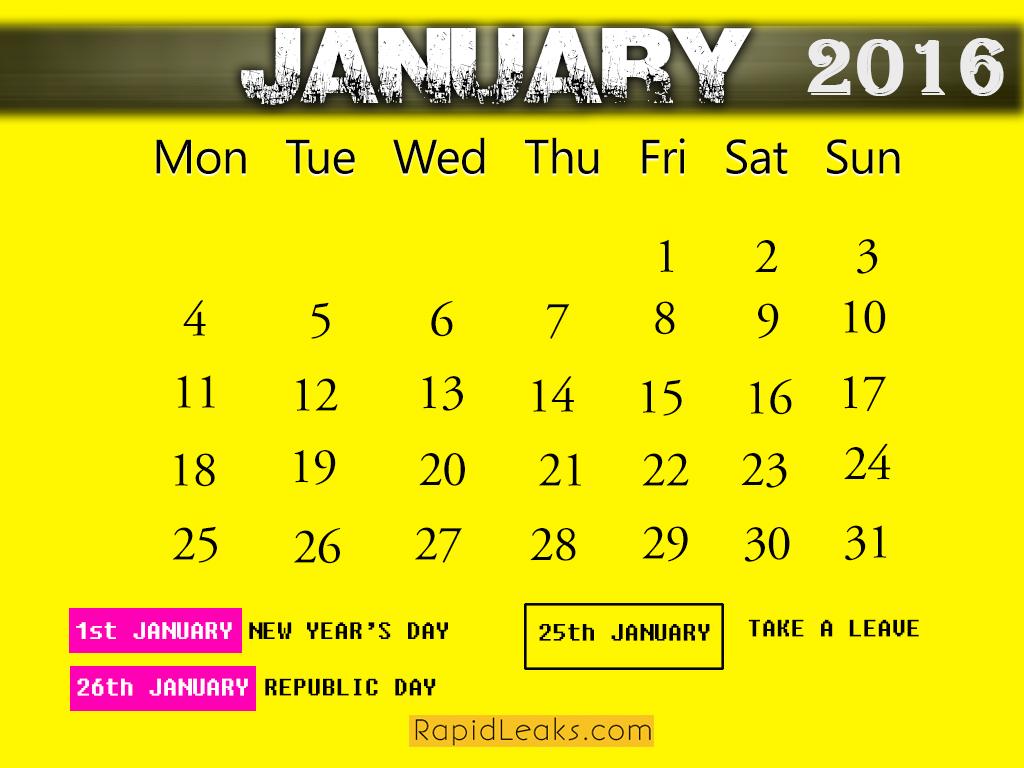 JANUARY HoJANUARY Holidays in 2016lidays in 2016