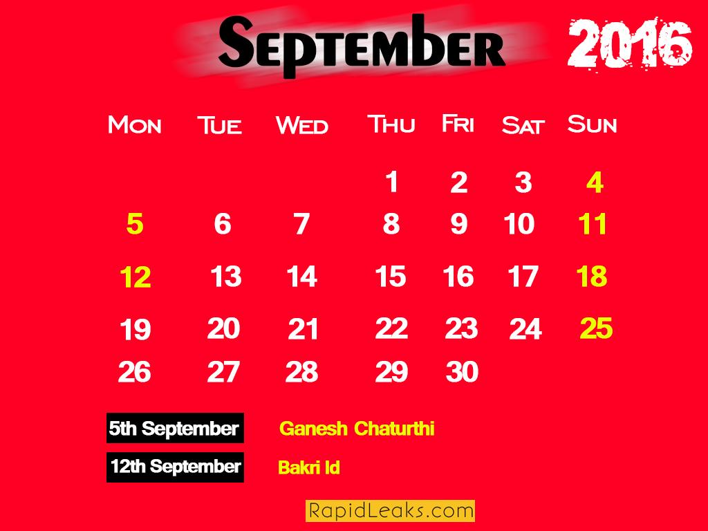 September Holidays in 2016