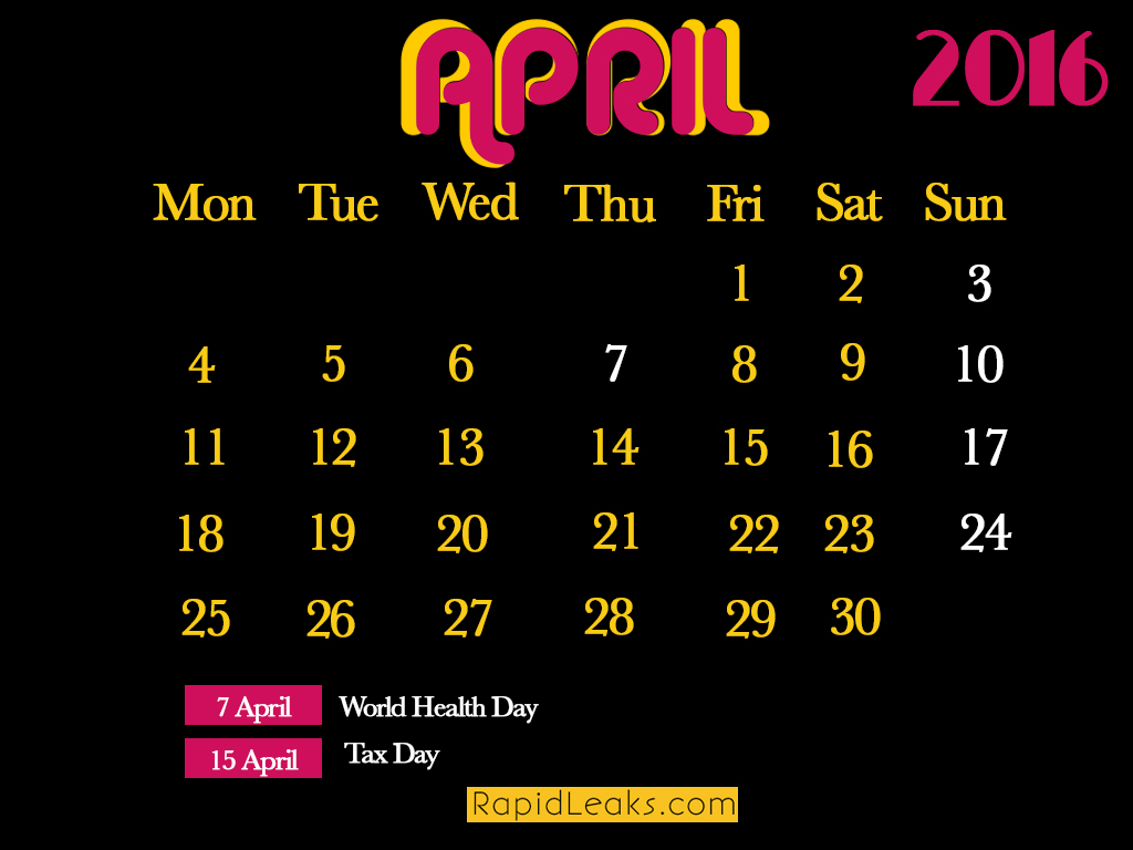 april Holidays in 2016