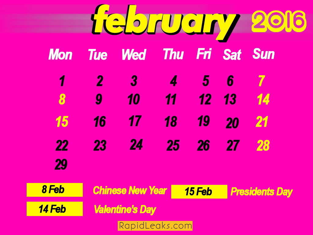 February Holidays in 2016