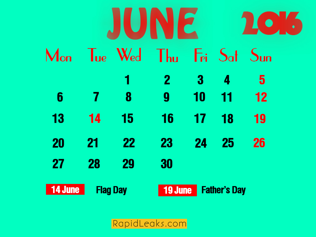 june Holidays in 2016