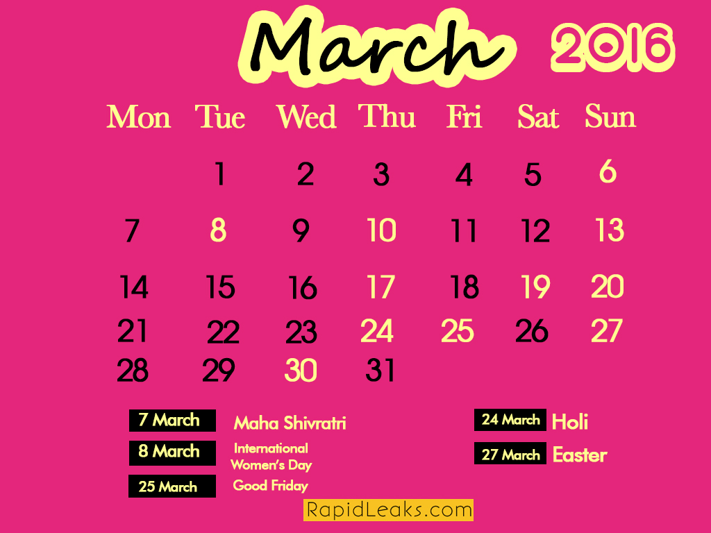 march Holidays in 2016