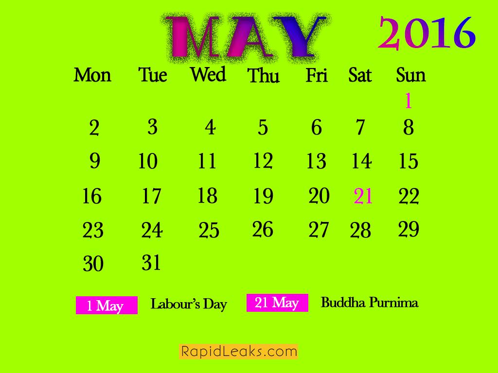 May Holidays in 2016