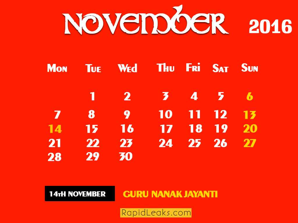 NOVEMBER Holidays in 2016