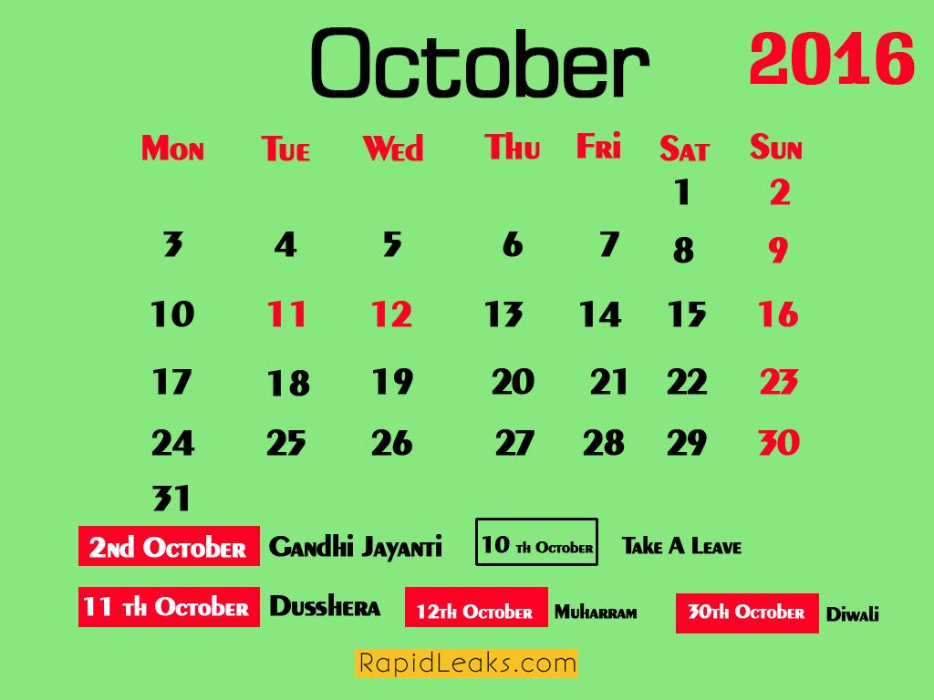 october Holidays in 2016